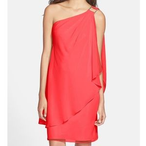 Laundry by Shelli Segal one shoulder drape dress